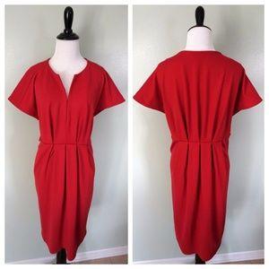 ADRIENNE VITTADINI Red Pleated Kimono Sleeve Dress